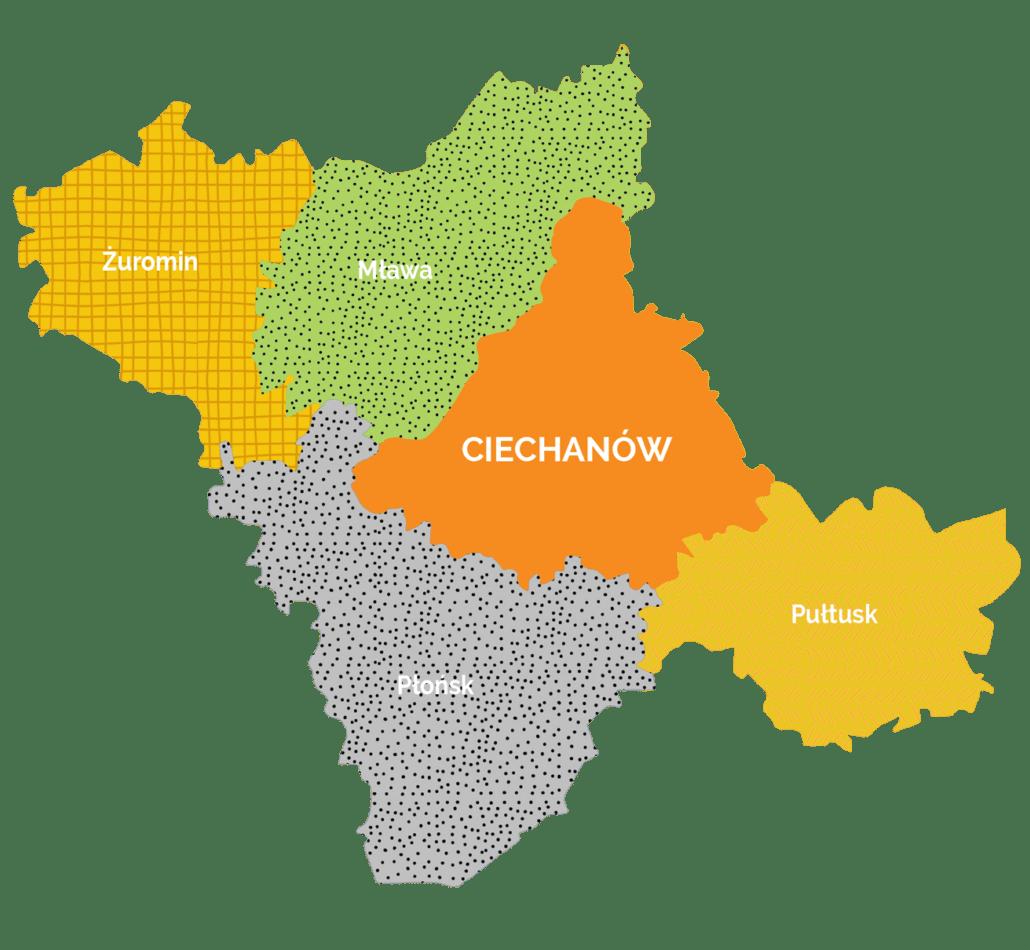 mapa subregionu ciechanowskiego